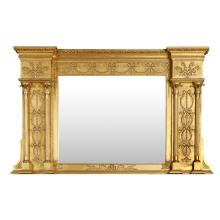 VICTORIAN GILTWOOD OVERMANTEL MIRROR 19TH CENTURY 99cm high, 163cm wide