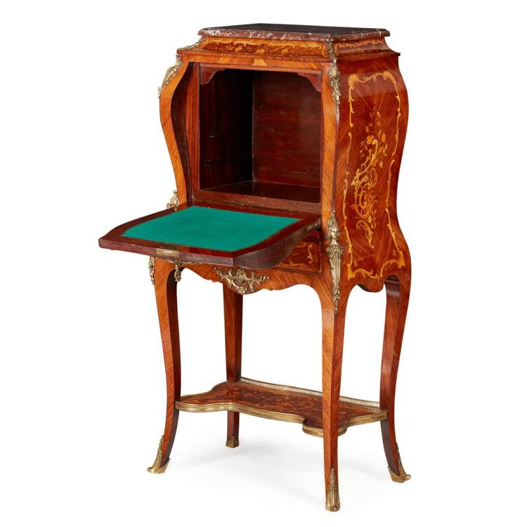 french kingwood marquetry and vernis martin bombe secretai. Black Bedroom Furniture Sets. Home Design Ideas