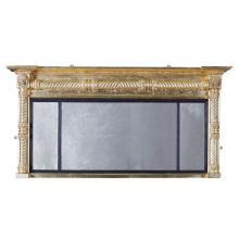 REGENCY GILTWOOD TRIPLE OVERMANTEL MIRROR EARLY 19TH CENTURY 72cm high, 146cm wide