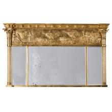 REGENCY GILTWOOD AND GESSO TRIPLE OVERMANTEL MIRROR EARLY 19TH CENTURY 90cm high, 140cm wide