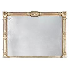 REGENCY GILTWOOD AND GESSO OVERMANTEL MIRROR EARLY 19TH CENTURY 105cm high, 144cm wide