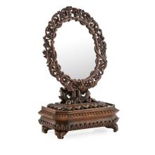 ANGLO-INDIAN CARVED TOILET MIRROR LATE 19TH CENTURY 32cm wide, 52.5cm high