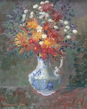 WILLIAM DRUMMOND BONE STILL LIFE OF FLOWERS IN A BLUE JUG 76cm x 61cm