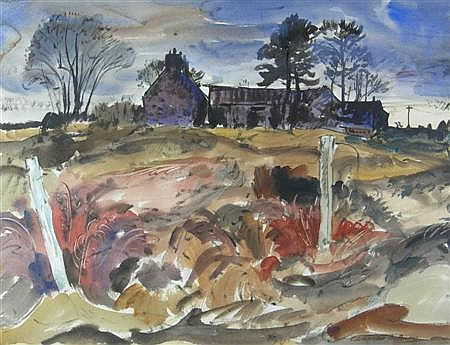 ALEXANDER S. BURNS R.S.W. (SCOTTISH 1911-1987) MEARNS HILL FROM NOVEMBER 55cm x 74cm (21.75in x 29in)