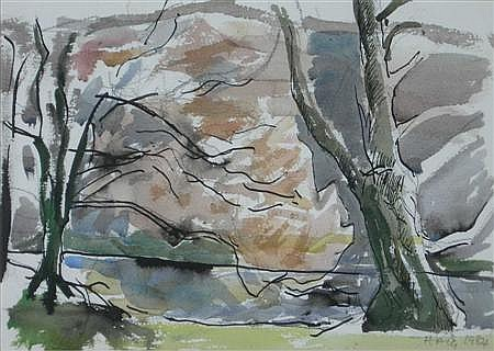 § EARL HAIG C.B.E., A.R.S.A (SCOTTISH B.1918) TREES AND CROMWEIL 26cm x 37cm (10in x 14.5in)