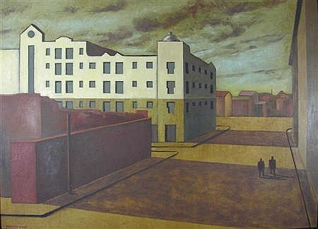 MARTIN KANE (SCOTTISH CONTEMPORARY) A CITYSCAPE 81cm x 116cm (32in x 45.5in)