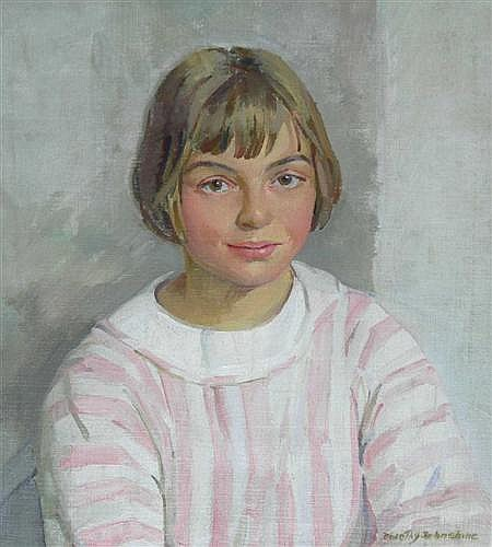 DOROTHY JOHNSTONE (SCOTTISH 1892-1980) GIRL IN A PINK AND WHITE STRIPED DRESS 44cm x 39cm (17.25in x 15.25in)