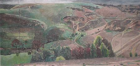 § RUTH STAGE (BRITISH B. 1969) MEANDERING ROADS 112cm x 233cm (44in x 91.5in)