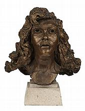 § SIR JACOB EPSTEIN (BRITISH 1890-1959) FIRST PORTRAIT OF KITTY (WITH CURLS) 37cm (14.5in) high (excluding base)