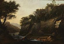MANNER OF WILLIAM MARLOW A WOODED RIVER LANDSCAPE WITH FISHERMEN 55cm x 79cm (21.5in x 31in)