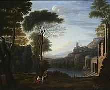 CIRCLE OF RICHARD WILSON A CLASSICAL LANDSCAPE WITH FIGURES AND DISTANT RUINS 61cm x 74cm (24in x 29in)