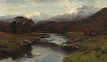 DAVID FARQUHARSON A.R.A., A.R.S.A., R.S.W., R.O.I (SCOTTISH 1840-1907) A RIVER LANDSCAPE WITH DISTANT SNOWY PEAKS 36cm x 61cm (14in...