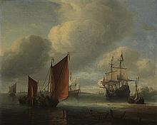 AERNOUT SMIT (DUTCH 1641-1710) THE MORNING GUN 46cm x 56cm (18in x 22in)