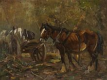 GEORGE SMITH R.S.A (SCOTTISH 1870-1934) THE TIMBER WAGON 31cm x 41cm (12in x 16in)