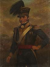 19TH CENTURY BRITISH SCHOOL 3/4 LENGTH PORTRAIT OF A SCOTTISH YEOMANRY OFFICER 127cm x 96.5cm (50in x 38in)
