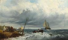 EDWARD THORNTON CRAWFORD R.S.A. (SCOTTISH 1806-1885) THE ARRIVAL OF THE FLEET 30.5cm x 51cm (12in x 20in)