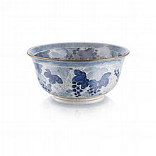 BLUE AND WHITE ''GRAPES'' PUNCH BOWL MEIJI PERIOD 27.3cm diam