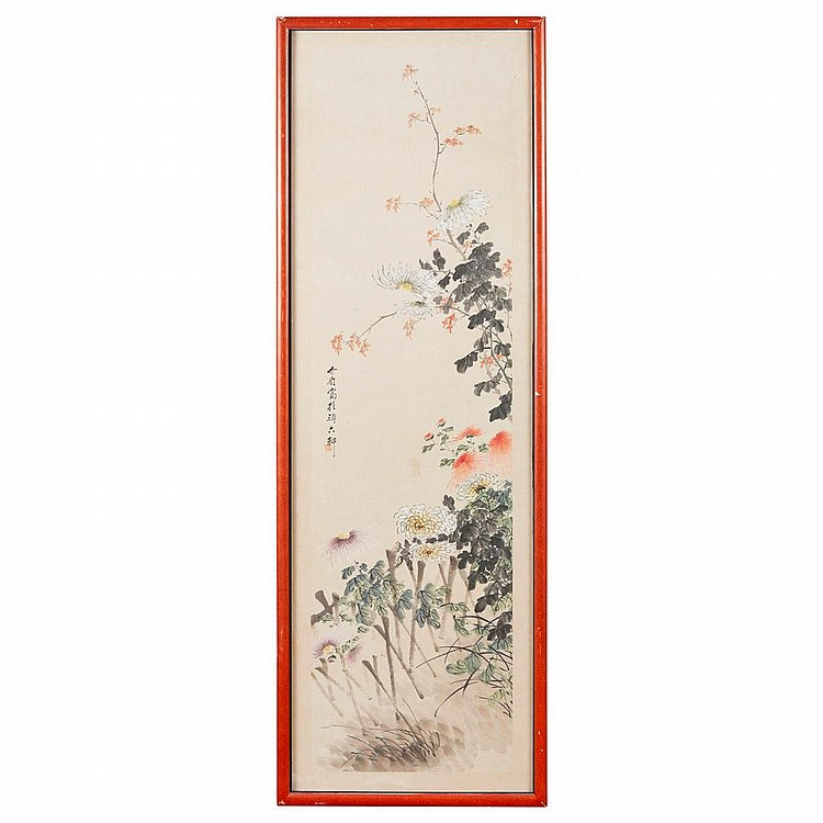 DIAN XIMEI (1887-1969) CHRYSANTHEMUM 146cm high, 39cm wide (sight)