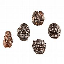 <sup>Y</sup> GROUP OF FIVE BOXWOOD NETSUKE MEIJI PERIOD largest 5.2cm high
