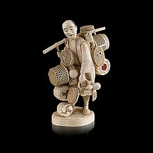 <sup>Y</sup> CARVED AND PIERCED IVORY OKIMONO OF A BASKET VENDOR BY TOSHIMASA, MEIJI PERIOD 19.5cm high