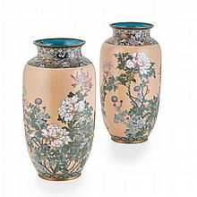 LARGE PAIR OF JAPANESE CLOISONNÉ VASES MEIJI PERIOD 40cm high