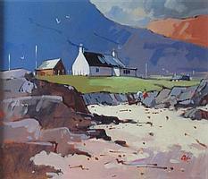 § JAMES ORR (SCOTTISH B.1937) HOUSE BY THE BEACH, ARDNAMURCHAN 28cm x 35cm (11in x 13.75in)