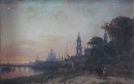 WILLIAM WYLD (BRITISH 1806-1889) VIEW OF DRESDEN, EVENING 12cm x 19.5cm (4.75in x 7.75in)