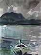 § JOHN HOUSTON O.B.E., R.S.A. (SCOTTISH 1930-2008) THE ROW BOAT 49cm x 37cm (19.25in x 14.5in)