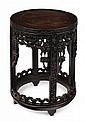 CHINESE CARVED HARDWOOD STOOL LATE QING DYNASTY 35cm diam, 44cm high