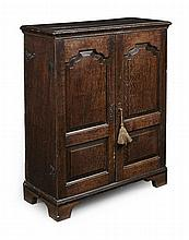 GEORGE II OAK SIDE CABINET 18TH CENTURY AND LATER 76cm wide, 95cm high, 33cm deep