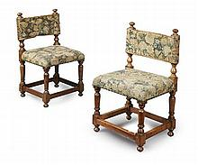 PAIR OF FRENCH WALNUT CHILDREN'S BACK STOOLS 17TH CENTURY 39cm wide, 66cm high, 33cm deep