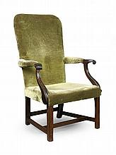 GEORGE III MAHOGANY UPHOLSTERED LIBRARY ARMCHAIR 18TH / EARLY 19TH CENTURY 65cm wide, 108cm high, 45cm deep (seat)