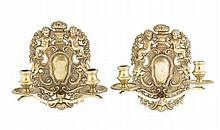 PAIR OF DUTCH BRASS WALL SCONCES 18TH CENTURY 22cm high