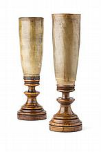 PAIR OF SCOTTISH HORN CANDLE LIGHTS 19TH CENTURY 40.5cm high