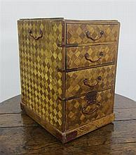 JAPANESE PARQUETRY TABLE CABINET MEIJI PERIOD 35cm high, 28cm deep, 22cm wide