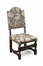 CHARLES II CARVED OAK AND UPHOLSTERED CHAIR LATE 17TH CENTURY 45cm wide, 103cm high