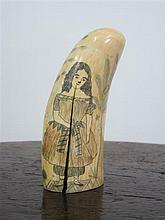 SCRIMSHAW TOOTH 19TH CENTURY 11.5cm high