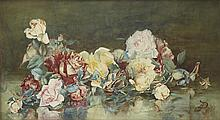 ALFRED FOWLER PATTEN R.B.A. (BRITISH 1829 - 1888) STILL-LIFE OF ROSES 30cm x 56.5cm (12in x 22in)