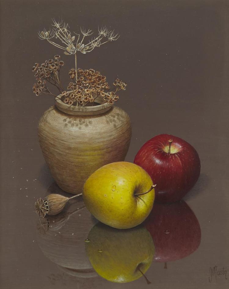 § IAN MASTIN (BRITISH B.1949) FRUIT AND SEED 25cm x 19.5cm (9.75in x 7.75in)