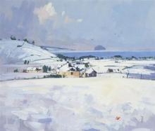 § JAMES ORR (SCOTTISH B.1937) SNOW AT CRAIGIE 29cm x 34cm (11.5in x 13.5in)