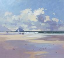 § JAMES ORR (SCOTTISH B.1937) WINTER BEACH 48.5cm x 54cm (19in x 21.25in)