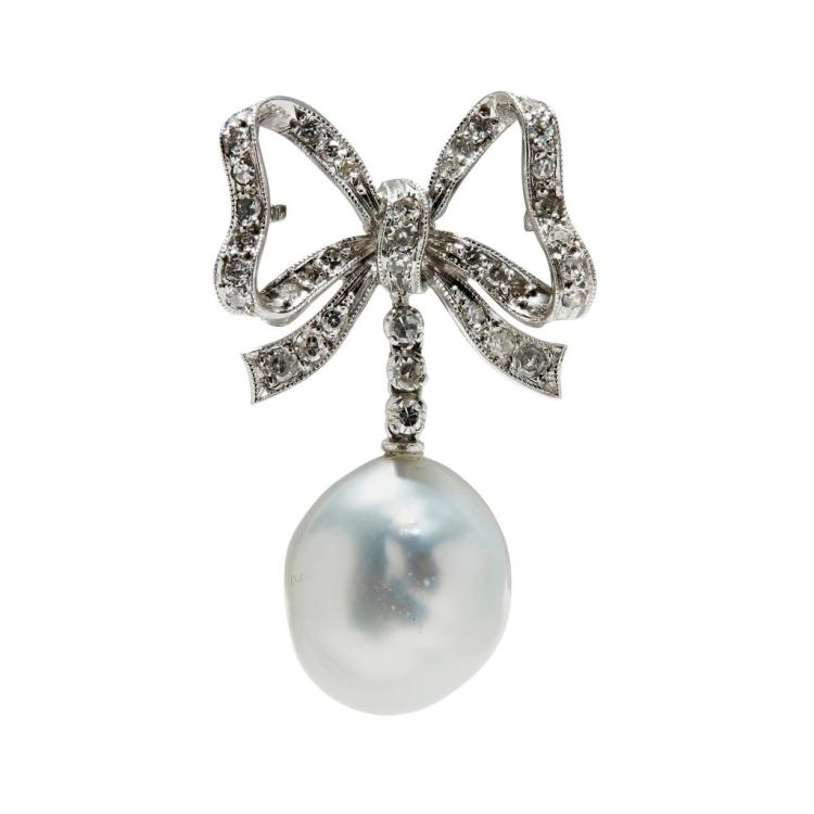 A diamond and pearl set bow brooch Length: 34mm
