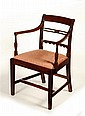 GEORGE III MAHOGANY FRAMED OPEN ARMCHAIR LATE 19TH CENTURY 85cm high