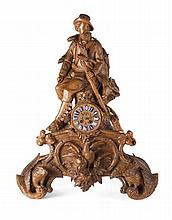 IMPRESSIVE 'BLACK FOREST' OR SWISS CARVED WOOD MANTEL CLOCK, BRIENZ , ATTRIBUTED TO JOHANN HUGGLER SNR (1834-1912) LATE 19TH CENTURY.
