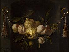 JURIAEN VAN STREECK (DUTCH 1632-1687) A STILL LIFE OF LEMONS, PEACHES AND GRAPES IN A NICHE WITH SWAGS 39cm x 49.5cm (15.25in x 19.5...