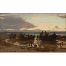 DAVID FARQUHARSON A.R.A., A.R.S.A., R.S.W., R.O.I. (SCOTTISH 1840-1907) LANDING PILCHARDS 31cm x 51cm (12in x 20in)