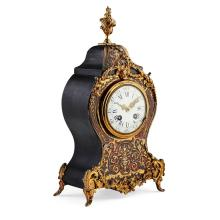 LOUIS XIV STYLE BOULLE MARQUETRY MANTEL CLOCK 19TH CENTURY 36cm high, 19cm wide