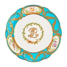 MINTON PORCELAIN PLATE, AFTER THE SERVICE BY SEVRES FOR LOUIS, PRINCE DE ROHAN LATE 19TH CENTURY 24.5cm diam
