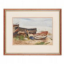 EDWARD ARTHUR WALTON (SCOTTISH 1860-1922) BY THE WATER: DONKEY AND FISHING BOATS 23cm x 34cm (9in x 13.25in)