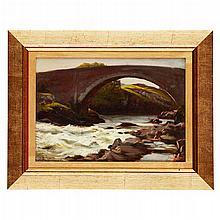 JOSEPH FARQUHARSON R.A. (SCOTTISH 1846-1935) THE BRIDGE, POOLEWE 24cm x 34.5cm (9.5in x 13.5in)